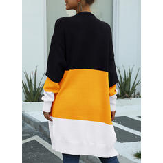 Cotton Blends Long Sleeves Color Block Pocket