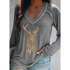Animal Print Sequins V-Neck Long Sleeves Christmas T-shirts