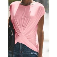 Solide Ronde Hals Korte Mouwen Casual T-shirts