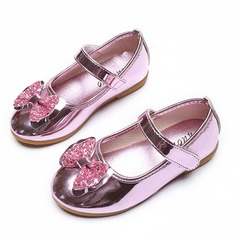 Girl's Leatherette Flat Heel Closed Toe Flats Flower Girl Shoes With Bowknot