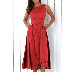 Couleur Unie Sans Manches Trapèze Vintage/Petites Robes Noires/Fête/Élégante Midi Robes