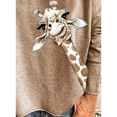 Estampado Animal Cuello en V Manga Larga Casual Camisetas