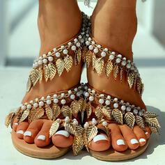 Dla kobiet PU Płaski Obcas Sandały Otwarty Nosek Buta Z Imitacja Pereł obuwie