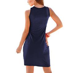 Solid Sleeveless Sheath Knee Length Little Black/Casual/Vacation Dresses