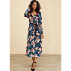 Print/Floral Long Sleeves A-line Wrap/Skater Casual/Elegant/Boho/Vacation Midi Dresses