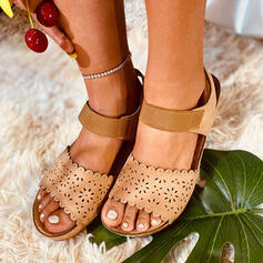 Women's Leatherette Flat Heel Sandals Peep Toe With Hollow-out shoes