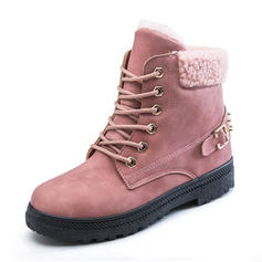 Women's PU Low Heel Snow Boots With Rivet Buckle Lace-up shoes