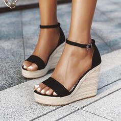 Vrouwen PU Wedge Heel Sandalen Pumps Plateau Wedges Peep Toe Hakken met Gesp Effen kleur schoenen