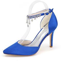 Kvinder silke lignende satin Stiletto Hæl sandaler Pumps Lukket Tå med Rhinsten Kæde sko
