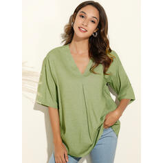 Solid V-Neck Short Sleeves Casual Knit Blouses