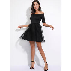 Solide 1/2 Mouwen A-lijn Boven de knie Vintage/Zwart jurkje/Feest/Elegant Schaatser Jurken