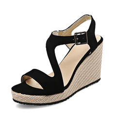 Women's Suede Wedge Heel Pumps Platform Wedges Peep Toe Slingbacks With Buckle shoes