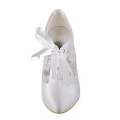 Women's Lace Satin Stiletto Heel Boots Pumps