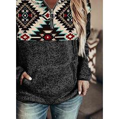 Print Lommer V-hals Lange ærmer Sweatshirts