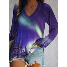 Forest Print V-Neck Long Sleeves T-shirts