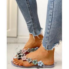 Women's PVC Flat Heel Sandals Peep Toe Flip-Flops Slippers With Flower shoes