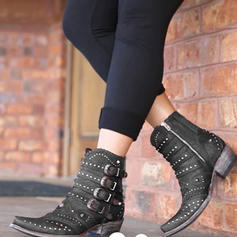Women's PU Low Heel Boots With Rivet Buckle Zipper shoes