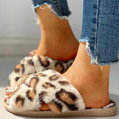 Women's Fabric Flat Heel Slippers With Animal Print shoes
