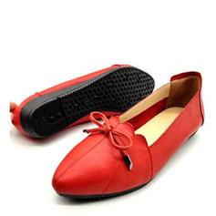 Női Valódi bőr Lakások -Val Csokornyakkendő cipő