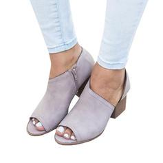 De mujer PU Tacón ancho Salón Encaje con Cremallera zapatos