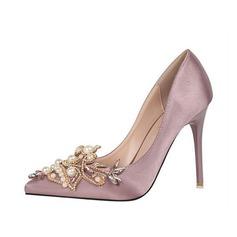 De mujer Seda Tacón stilettos Salón con Perla zapatos