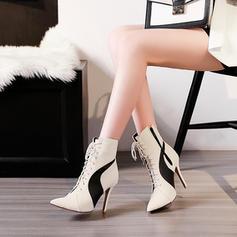 Femmes PU Talon stiletto Escarpins Bottes avec Dentelle Semelle chaussures