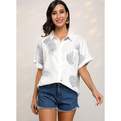 Print Lapel Short Sleeves Button Up Casual Shirt Blouses