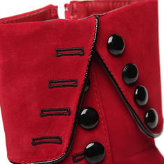 Women's Suede Stiletto Heel Pumps Mid-Calf Boots With Zipper Button shoes