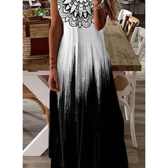 Nadrukowana/Gradient Bez rękawów W kształcie litery A Łyżwiaż Casual Maxi Sukienki