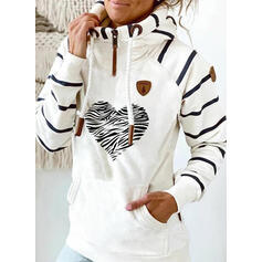 Print Striped Heart Pockets Long Sleeves Hoodie
