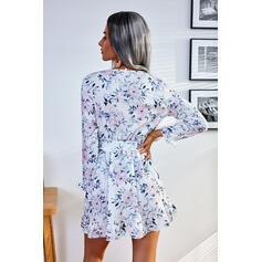 Impresión/Floral Manga Larga Vestido línea A Sobre la Rodilla Casual Patinador Vestidos
