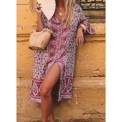 Print/Floral 3/4 Sleeves Shift Knee Length Casual/Boho/Vacation Dresses