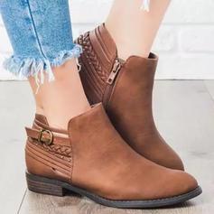 Donna PU Tacco spesso Stivali alla caviglia con Cerniera scarpe