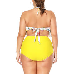 Floral High Waist Neon Halter Sexy Plus Size Bikinis Swimsuits