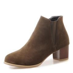 Dla kobiet Zamsz Obcas Slupek Czólenka Zakryte Palce Kozaki Botki Z Łączona obuwie