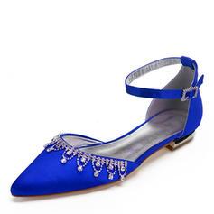 Femmes Soie comme du satin Talon plat Bout fermé Chaussures plates avec Tassel Cristal
