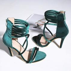 Femmes PU Talon stiletto Sandales Escarpins À bout ouvert avec Zip chaussures