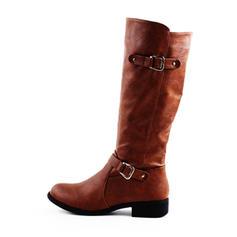 Women's PU Flat Heel Flats Boots Knee High Boots With Buckle Zipper shoes