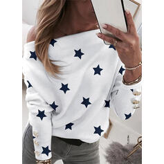 Print One-Shoulder Long Sleeves Casual Blouses