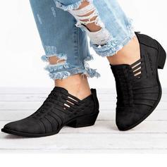 Mulheres Microfibra Couro Salto baixo Bombas Fechados Botas com Oca-out sapatos