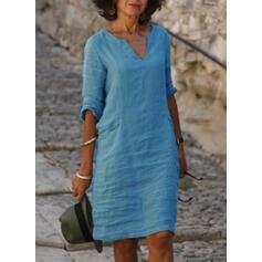 Couleur Unie Manches 3/4 Droite Longueur Genou Décontractée Tunique Robes