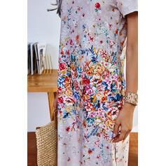 Print/Floral Short Sleeves Shift Casual Midi Dresses