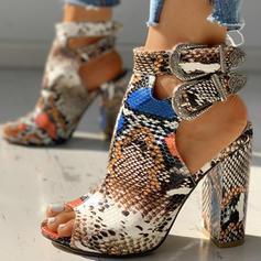 Сандалі взуття на короткій шпильці з Пряжка Тваринний візерунок взуття