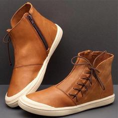 Frauen PU Flascher Absatz Stiefel mit Reißverschluss Zuschnüren Schuhe