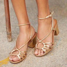 Women's PU Chunky Heel Sandals Peep Toe Slingbacks shoes