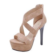 Women's Suede Stiletto Heel Sandals Platform shoes