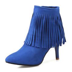 Femmes Suède Talon stiletto Bout fermé Bottes Bottines avec Zip Tassel chaussures