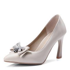 Femmes Similicuir Talon stiletto Escarpins Bout fermé avec Bowknot chaussures