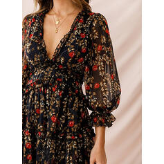 Print/Floral 3/4 Sleeves/Puff Sleeves A-line Above Knee Sexy/Party Skater Dresses