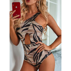 Leaves High Cut One-Shoulder Sexy Fresh One-piece Swimsuits